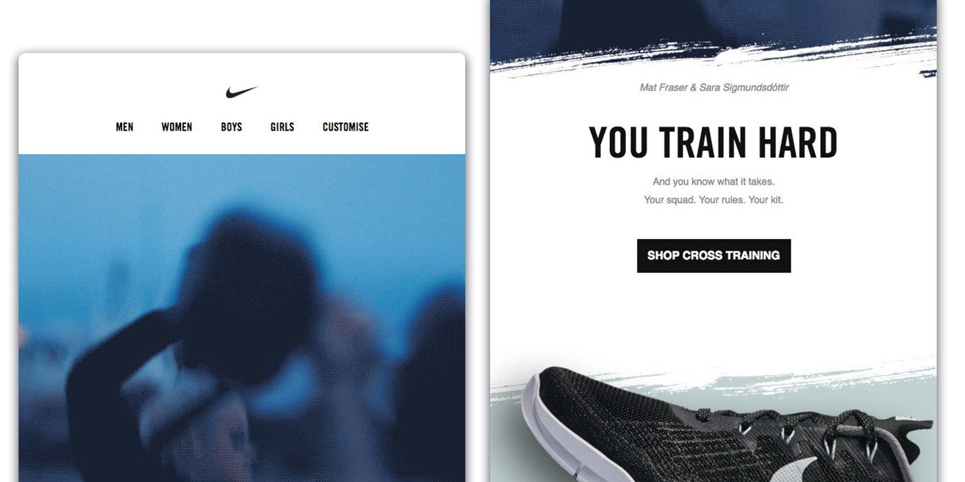 Email by Nike tailored to the customer's specific interest