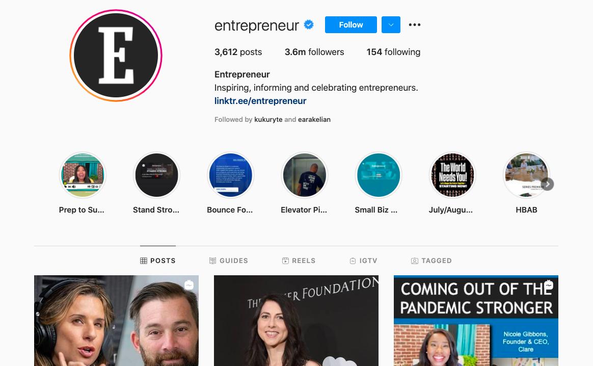 Entrepreneur magazine Instagram account