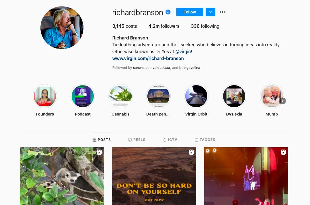 Richard Branson's Instagram account for business inspiration