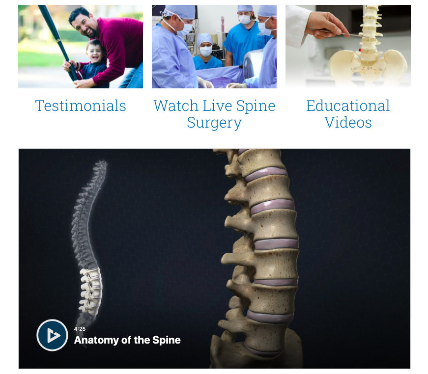 Educational videos on Deuk Spine institute website
