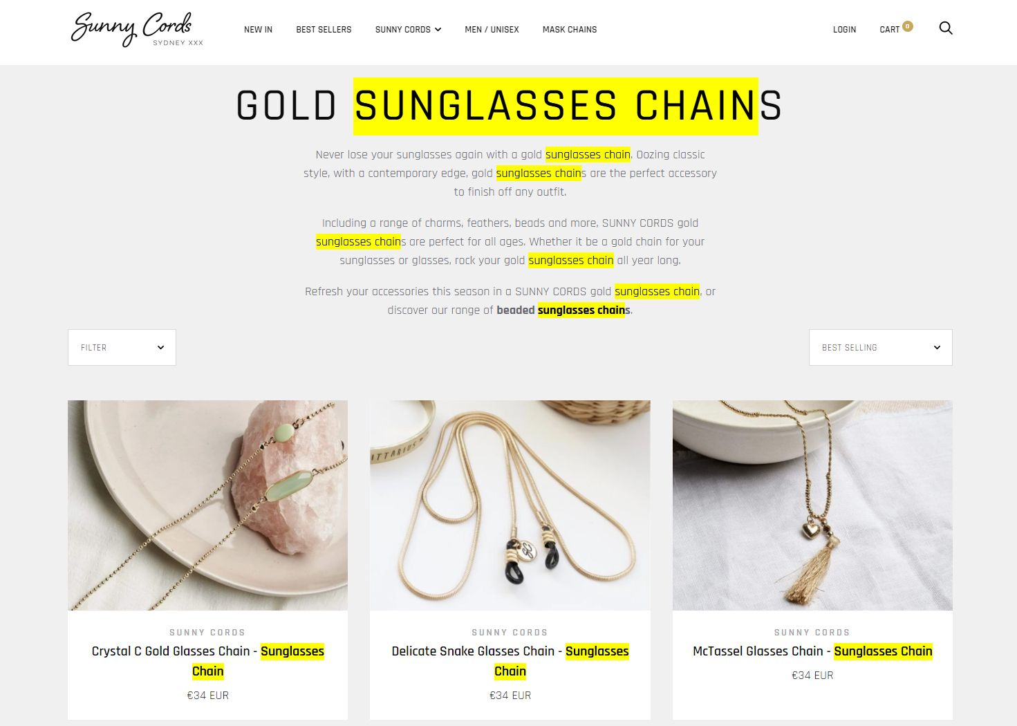 Sunny Cords website - SEO-friendly content example